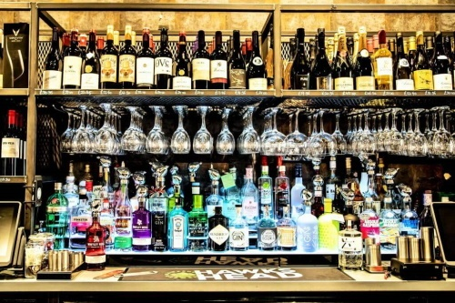 Backbar, wines and gins